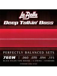 La Bella Deep Talkin' Bass Black Nylon 760N tension normale
